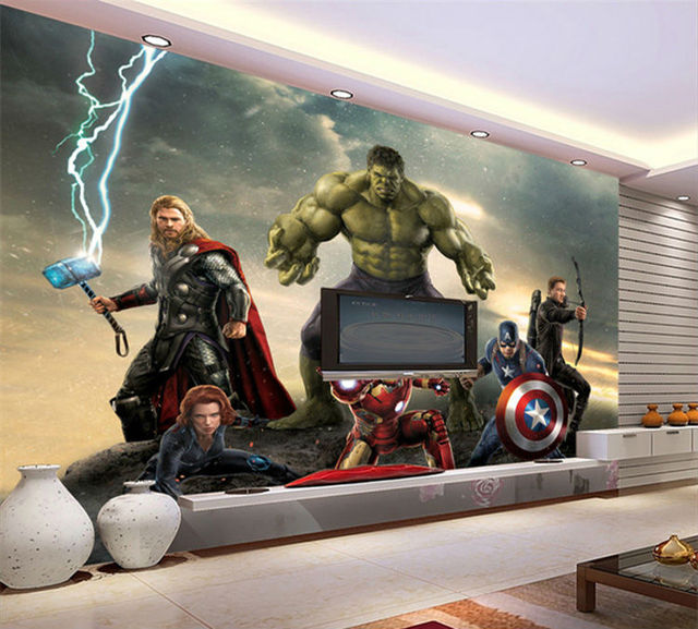 3D Wallpaper The Avengers Photo Wallpaper Movie Wall Mural Marvel Heroes  Boys Kids Girls Room Decor