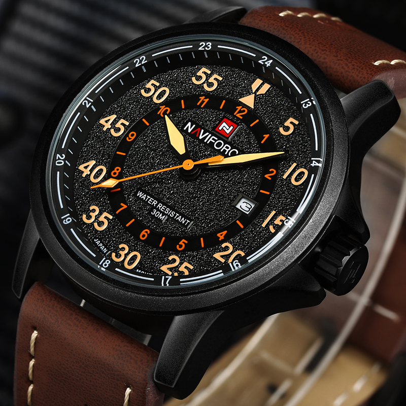 New NAVIFORCE Luxury Brand Leather Strap Analog Men's Quartz Date Clock Fashion Casual Sports Watches Men Military Wrist Watch