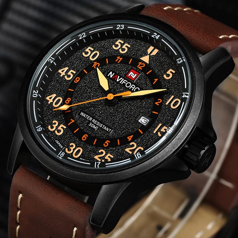 New NAVIFORCE Luxury Brand Leather Strap Analog Men's Quartz Date Clock Fashion Casual Sports Watches Men Military Wrist Watch