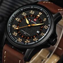 Nouveau NAVIFORCE Marque De Luxe Bracelet En Cuir Analogique Hommes de Quartz Date Horloge Mode Casual Sport Montres Hommes Militaire Montre-Bracelet