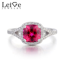 Leige Jewelry Red Gemstone Anniversary Ring Lab Ruby Ring 925 Sterling Silver Ring Cushion Cut July Birthstone for Her