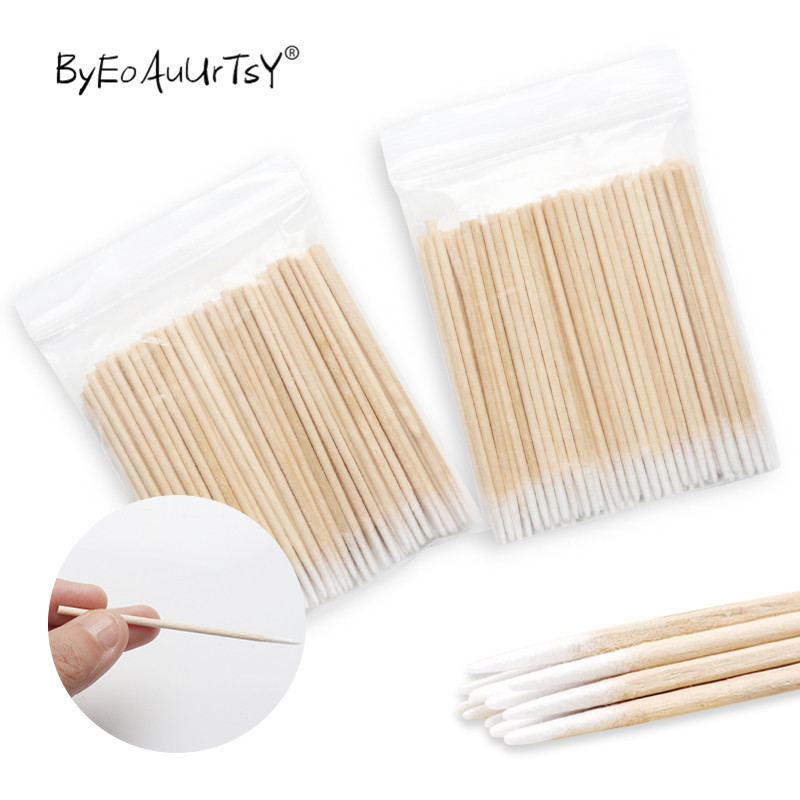 Disposable Ultra-small Cotton Swab Lint Free Micro Brushes Wood Cotton Buds Swabs Glue Removing Tools For Eyelash Extension