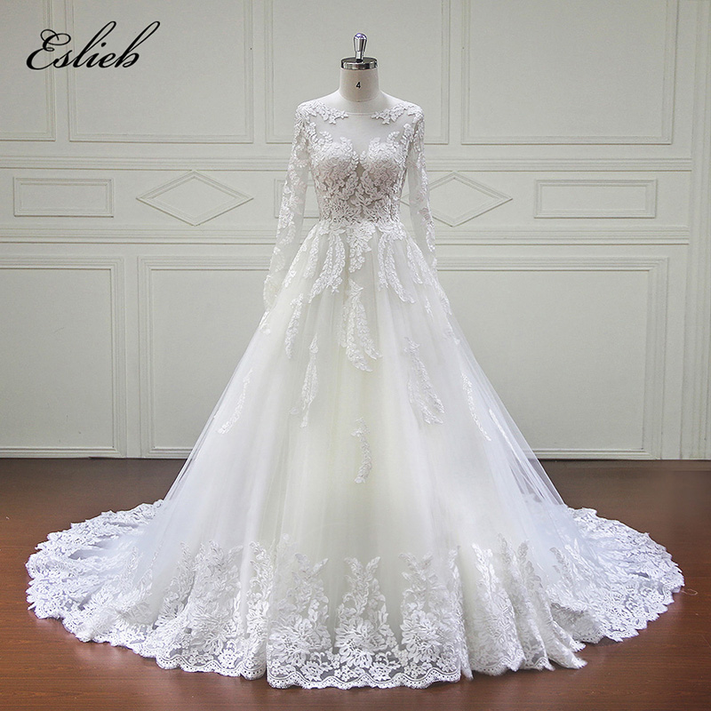 Eslieb 100% Real Photos Luxury Wedding Dresses Chapel