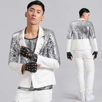 Nightclub Male Singer Bar DJ Rock Punk Silver Sequin PU Clothing Suit Leather Show Costumes Male Rave Outfit Dance Costumes 2018