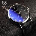 Yazole relojes top brand reloj de los hombres reloj de cuero resistente al agua de lujo de cristal azul de los hombres romanos reloj reloj erkek saat reloj hombre