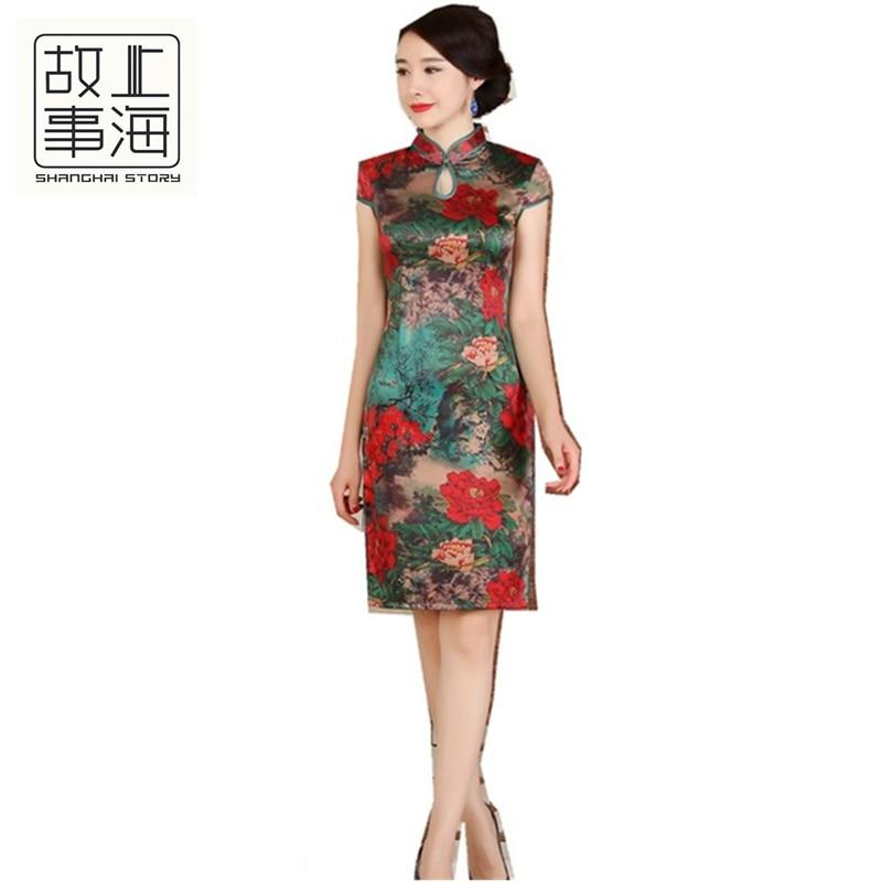 Шанхай история короткий рукав по колено cheongsam Цветочные Qipao один Слои китайский Стиль платье Oriental платье для женщины