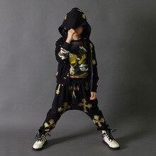 Новая мода хип-хоп детская одежда установить танец носить Костюмы уличная дети спортивные костюмы Хип-Хоп гарем брюки и футболка джаз