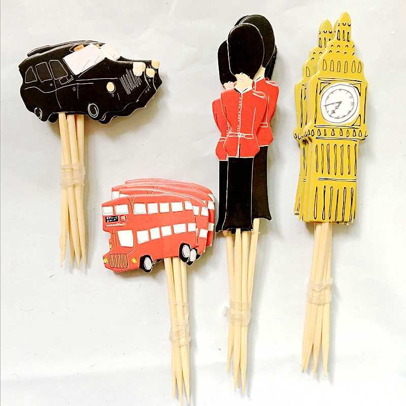 24 pcs Londres Big Ben Soldado Guarda Pega de coco Do Queque do Aniversário dos miúdos Do Partido Decoração Do Casamento Dos Desenhos Animados Bolo assando bandeiras do carro nova