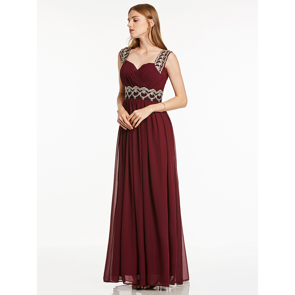 Dressv Burgundy Beading Straps Long Evening Dress Sleeveless Wedding Party Formal Dress A Line Evening Dresses