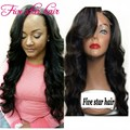 Cheap real Human hair full lace wigs with side part bangs Virgin Indian glueless lace front wigs baby hair 150 density wigs