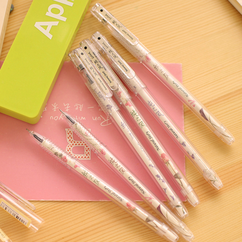 1 Pics Kawaii Black Gel Pen Set Cute Korean Stationery Pens For Writting Office School Supplies Gift Free Shipping