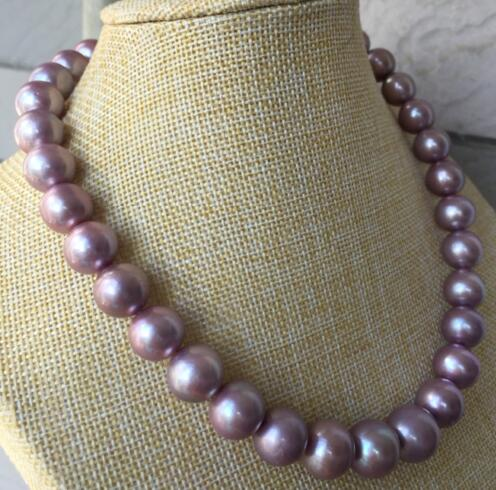Jewelry AAA 11 12 mm south sea purple pearl necklace 14 gold clasp