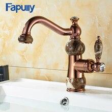 Fapully бассейна кран водопроводный кран для ванной кран твердой хромированной латуни розовое золото бассейна раковины смесители краны jade ванной кран