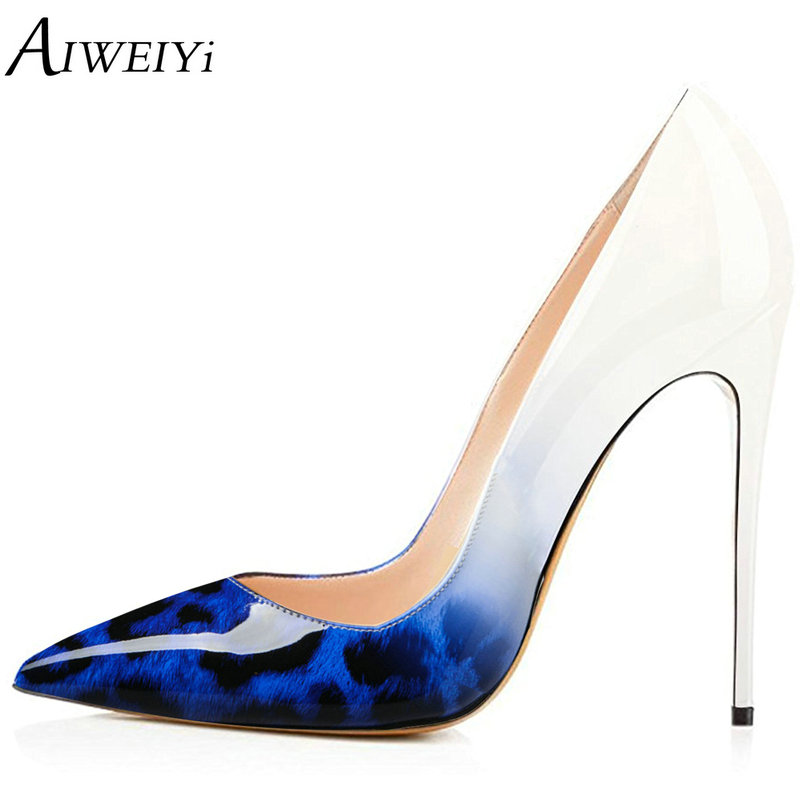 AIWEIYi Brand Women Pumps Leopard Print Shoes Woman High Heels Stiletto Heels Shoes Women Patent Leather Sexy Designer Shoes italian patent leather shoes women wedding shoes super high heels designer luxury brand gold silver sexy pumps stiletto tacones