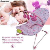 Adjustable Baby Cradle Multifunction Sleeping Children Rocking Chair Plaid Style Detachable Toys Music Box Baby Seat
