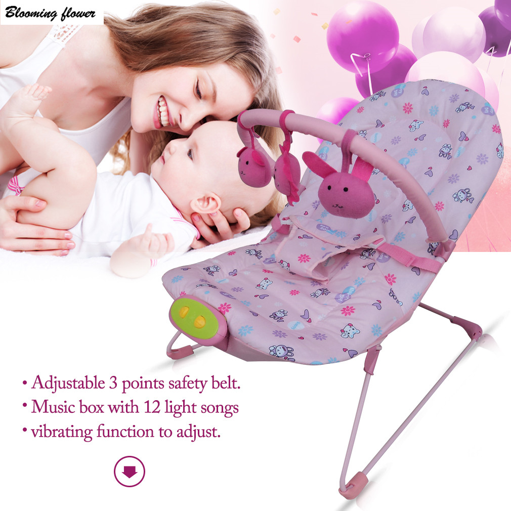 Baby Rocking Chair Cradle Multifunction Sleeping Children Plaid Style Detachable Toys Music Box Adjustable Baby Seat Sofa Chair 2017 new babyruler portable baby cradle newborn light music rocking chair kid game swing