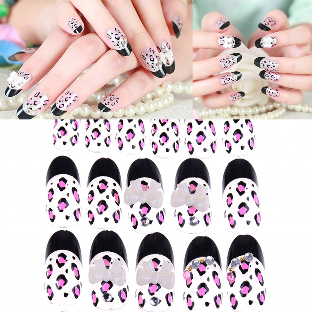 Fine New 24pcs/set Ink Wind Style Fake Nail Tips Leopard Print Color Jump Design False Nails Lady Full Nail Tips Patch Nail Art Tool Back To Search Resultsbeauty & Health