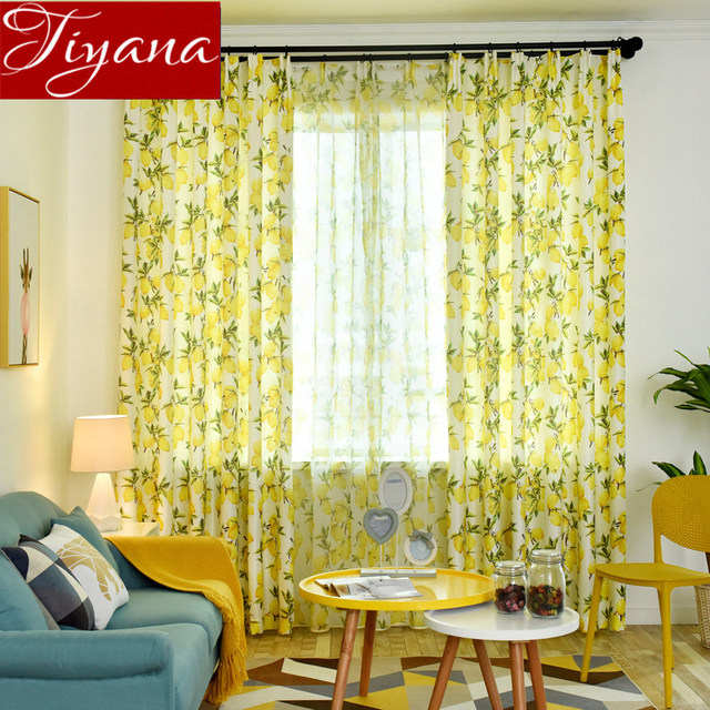 curtains for yellow living room chairs furniture curtain lemon kids window bedroom tulle sheer fabrics rustic drapes cortinas t 166 30