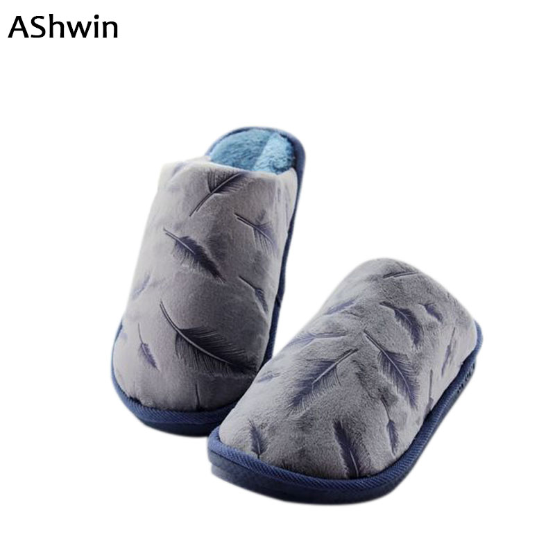 AShwin feather cotton slippers plush winter down shoes thermal warm home floor shoes flats slip on indoor slippers women men fashion womens shoes warm winter cotton shoes tennis feminino casual girl shoes comfortable ladies flats long plush women flats