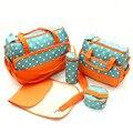 5 unids caliente del pañal bolsa grande bolsas de pañales moda para mamá maternidad multifuncional cochecito con cambiador para bebés bolsa bolso