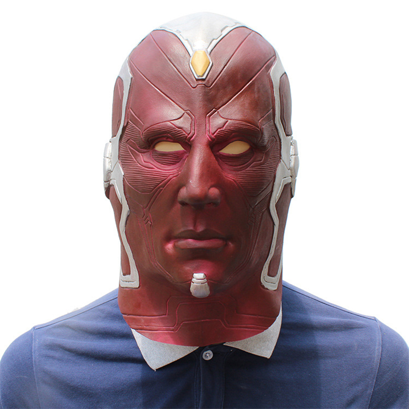 The Avengers Superhero Vision Cosplay Full Head Latex Mask Fancy Ball Helmet Party Halloween Props Masks