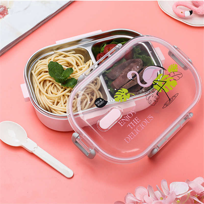 Meyjig Portable Japanese Lunch Box With Compartments Tableware 304 Stainless Steel Kids Bento Box Microwave Food Container