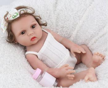 Bebes reborn 17 inch Full Vinyl silicone reborn baby doll girl Lucy Lifelike Fake Infant Educational  Bath Toys gift  bonecas