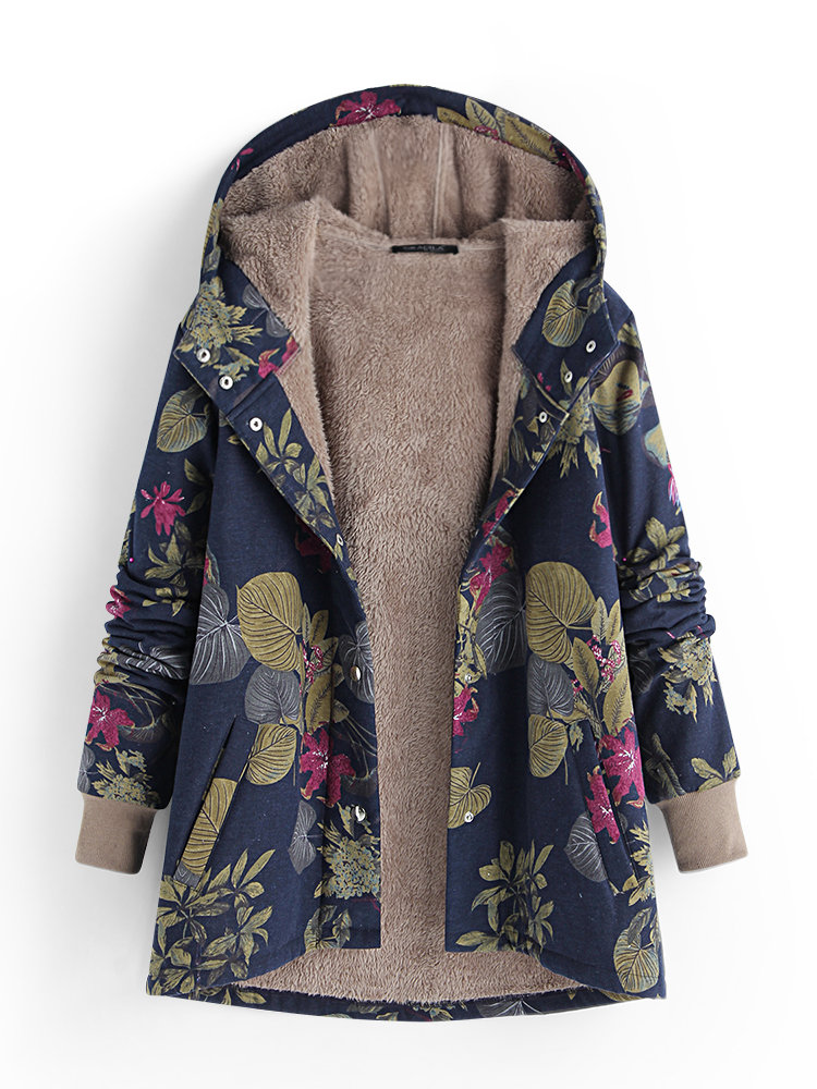 Patchwork Leaves Hooded Vintage Floral Print Warm Ladies Women 2018 Winter  Cotton Long Sleeve Jacket Long Single Winter Coats  6168d993c62