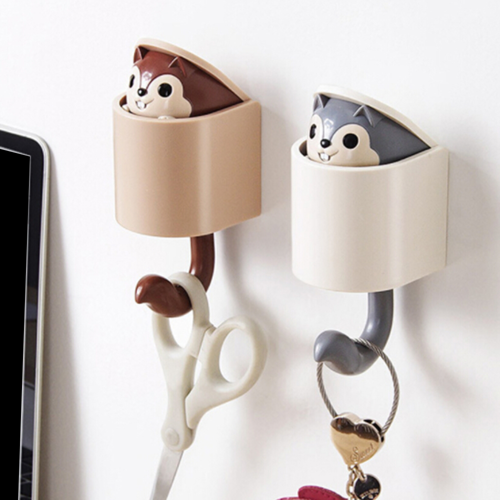 Coat Wall Hook Key Holder Creative Outstretch Cute Squirrel Hook Wall Home Decor Kitchen Hook Bathroom Accessories Coat Hanger