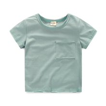 Summer Children T Shirt Casual Simple Baby Boy Soft Cotton Tops Pullover Kid Toddler Short Sleeve Pocket T-shirts Kids Clothing