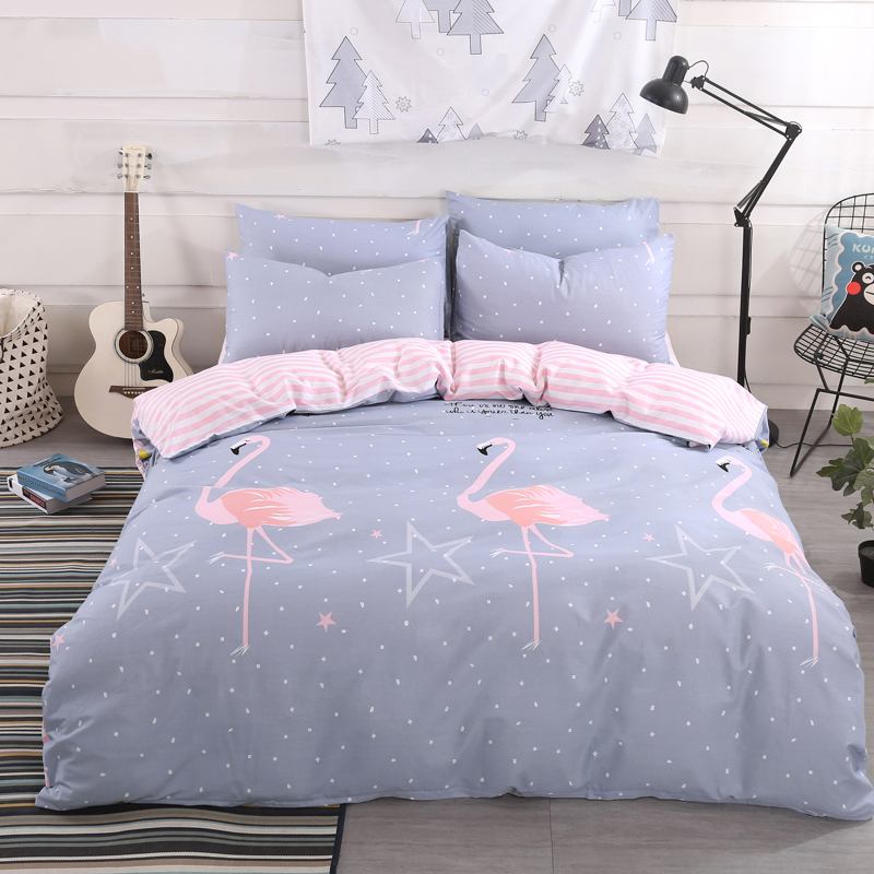 cartoon flamingo gray bedding set 34pcs twin full queen size duvet cover bed flat - Queen Size Duvet Cover