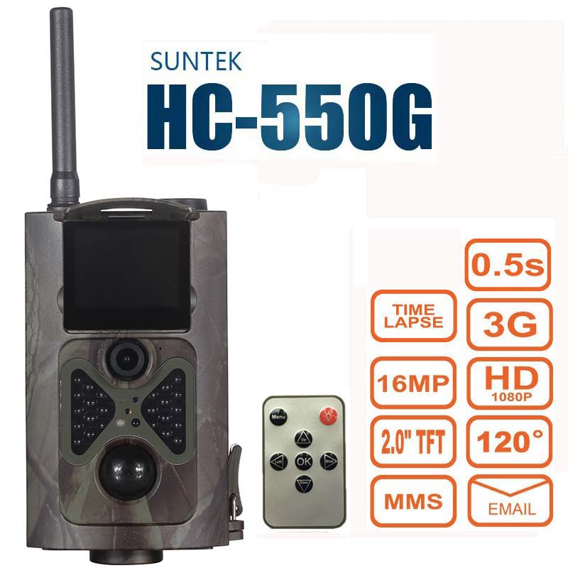 Suntek HC550G Hunting Trail Camera 3G HD 16MP 1080P Video Night Vision MMS GPRS Scouting Infrared Game Hunter Cam free shipping ip56 waterproof mms gprs night vision trail game hunting camera 0 2s shooting time three sensors cam