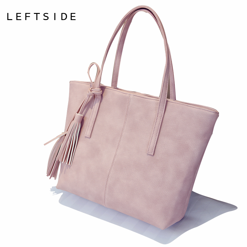 LEFTSIDE 2017 New Designer Famous Brand Tote Bag Big Shopping Bag Large Shoulder Bags for women Leather Handbag Female Hand Bag new genuine leather bags for women famous brand boston messenger bags handbags tassel tote hand bag woman shoulder big bag bolso
