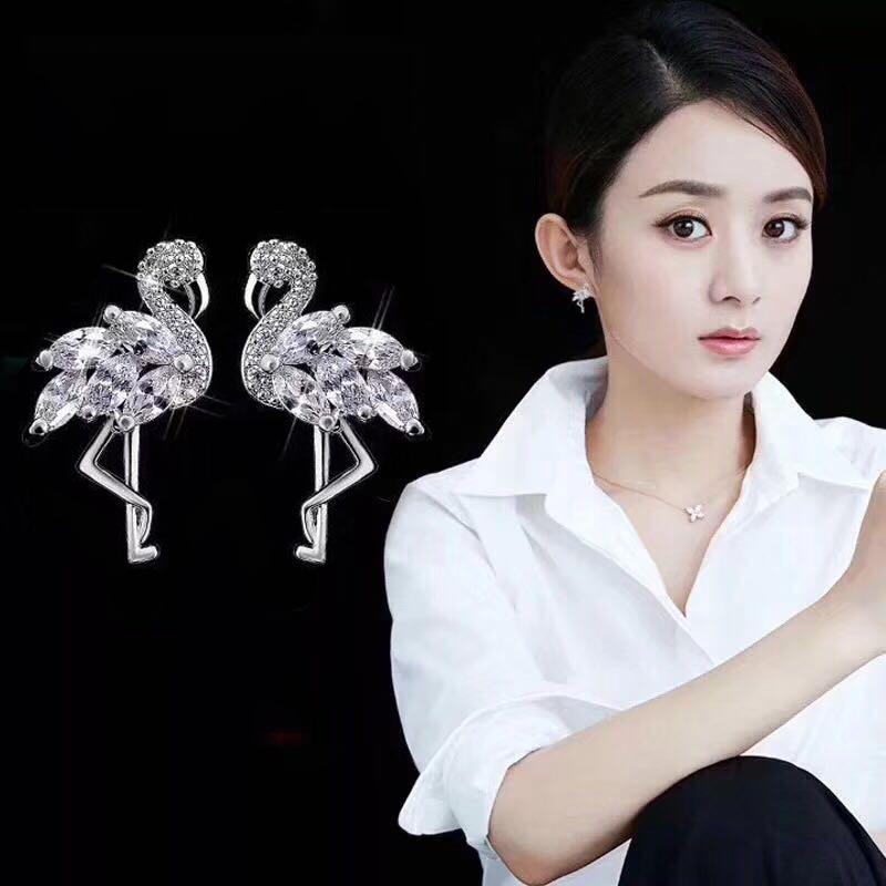 New CZ Zircon Flamingo Earring Cute Red-crowned Crane Animal Stud Earrings For Women Girl Fashion Jewelry Gifts 2020