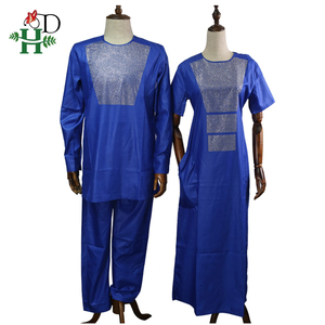 Image 5 - H&D african couple clothes suits long dresses for women african men dashiki shirt pant set 2020 new clothing with shining stones