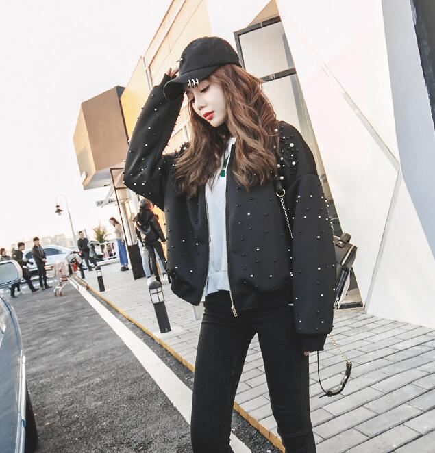 2017 Harajuku Весна женские свободные Cusual Дизайн короткая верхняя одежда черный Бисер заклепки Бейсбол куртка
