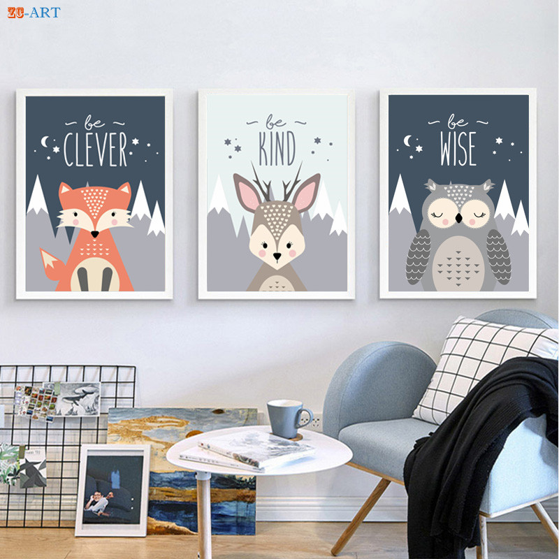 Fox Bear Owl Deer Canvas Painting Animal Prints Poster