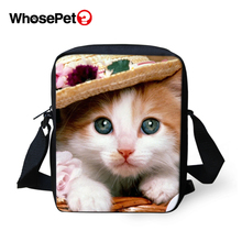 WHOSEPET Women Shoulder Bags Flower Cat Prints Cross Body Messenger Fashion Lady Mini Flap Postbags Cool Girls School