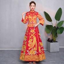 3097b7abf Novia de Cheongsam de estilo chino Vintage boda Vestido de dama Retro  bordado Phoenix vestido de matrimonio Qipao ropa Puls tama.