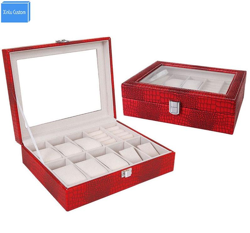 Boîte en gros pour bijoux/montre/Bracelet/bague femmes/hommes léopard boîte en cuir stockage et affichage montres étuis heure emballage cadeau