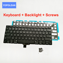 "5pcs/lot US Laptop Keyboard + Keyboard Backlight + 100pcs Screws For Macbook Pro 13"" A1278 2009-2012 Year Brand New(China)"