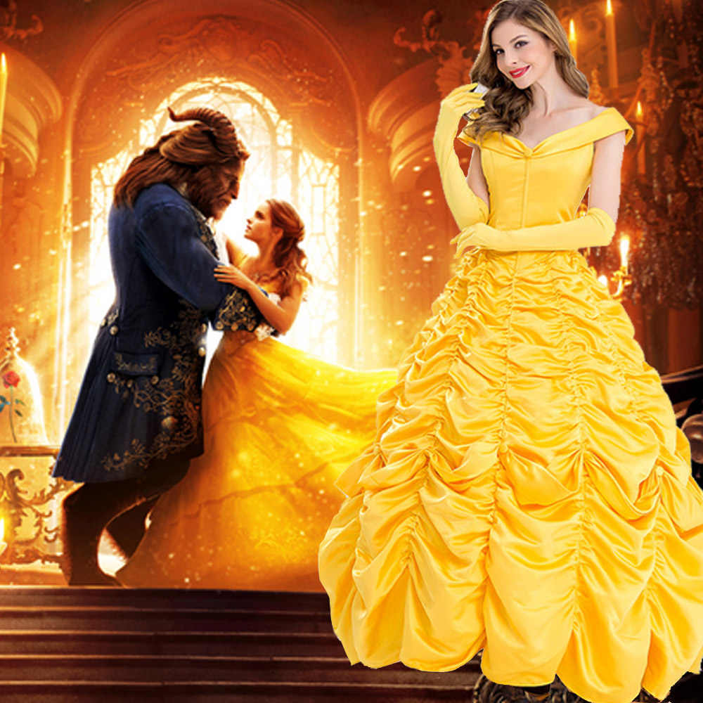 32d19b01b9f 2018 Princess Belle Beauty And the Beast Adult Fairytale Long Gown ...