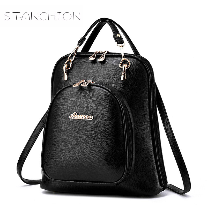 Women Backpack Faux Leather Portable Multifunctional Daily Solid Vintage Litchi Pattern Fashion Shoulder Travel For Teenage