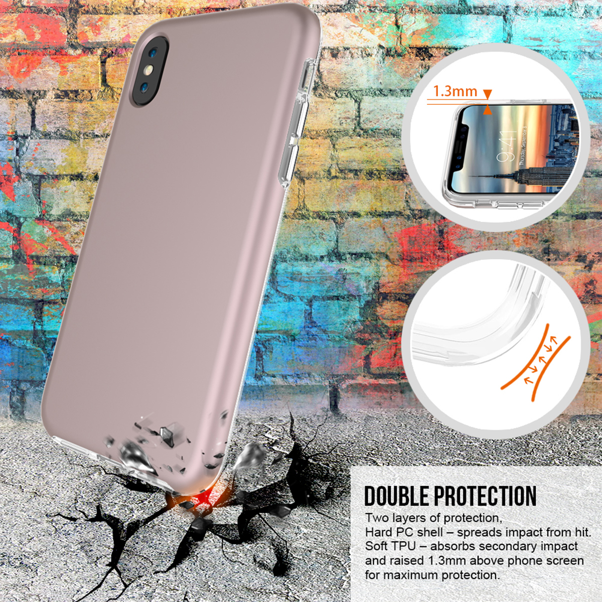 Grandever Hard Case For Iphone X Luxury 2 In 1 Rose 2in1 Shark Hybrid Armor Soft Huawei P9 245dd194 F04b 40b0 9d9e 89d5c9cd2ad0