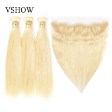 VSHOW HAIR 613 Bundles With Frontal Brazilian Hair Closure Remy Straight Human Blonde