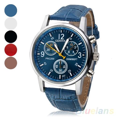 Mens Womens Fashion Faux Leather Band Quartz Analog Dress Bracelet Wrist Watch C