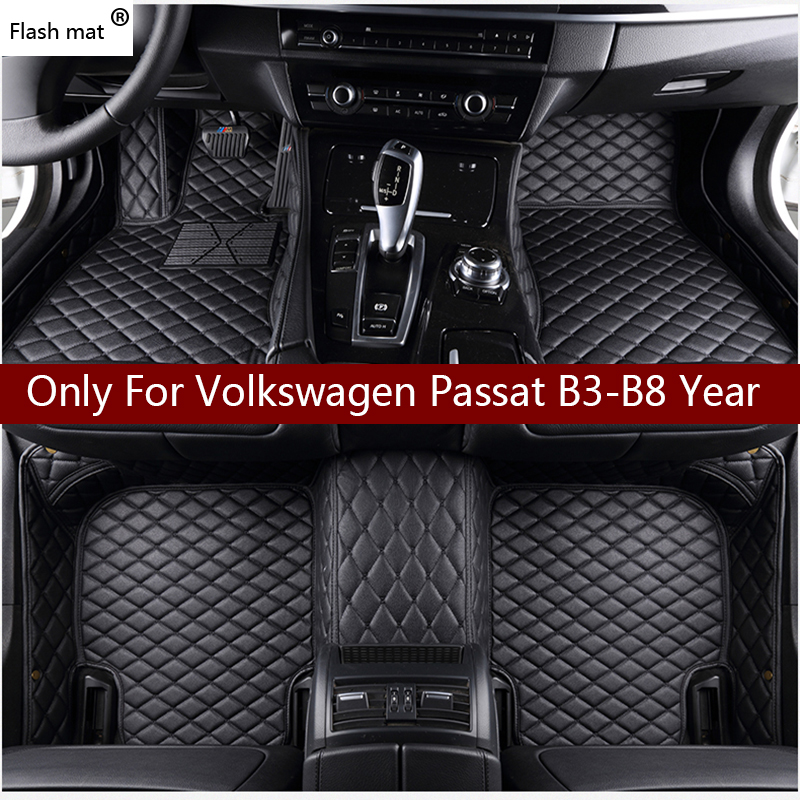 Flash Mat Leather Car Floor Mats For Volkswagen Vw Passat B3 B4 B5 B6 B7 B8 2000-2018  Custom Foot Pads Automobile Carpet Cover(China)
