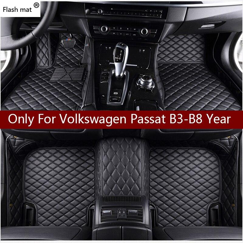 Флэш-мат кожаные автомобильные коврики для Volkswagen vw passat B3 B4 B5 B6 B7 B8 2000-2018 пользовательские подкладка под ножки автомобильной ковровое покрыти...
