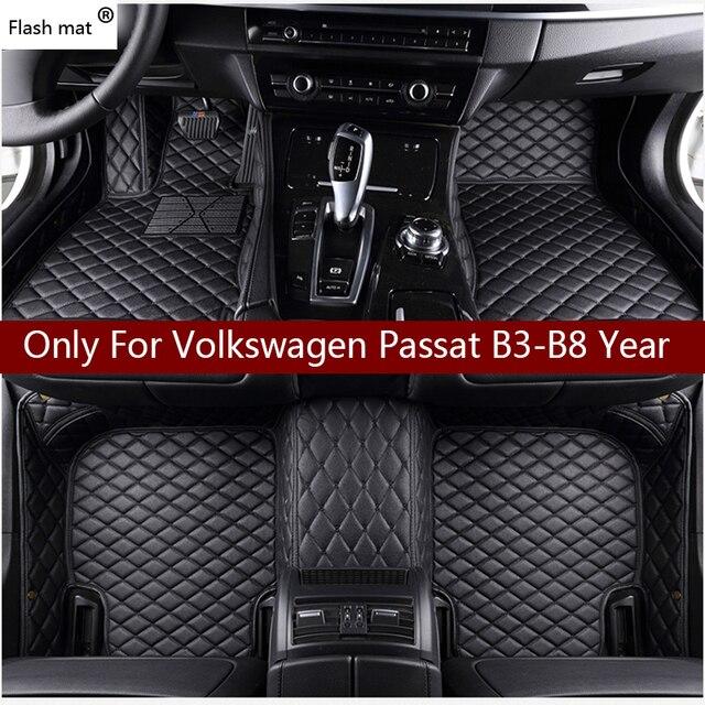 Кожаный Автомобильный Коврик для вспышки, напольные коврики для Volkswagen vw passat B3 B4 B5 B6 B7 B8 2000 2018, индивидуальные подставки для ног, чехол для телефона