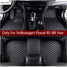 Flaş mat deri araba paspaslar Volkswagen vw passat B3 B4 B5 B6 B7 B8 2000 2018 özel ayak pedleri otomobil halı kapak